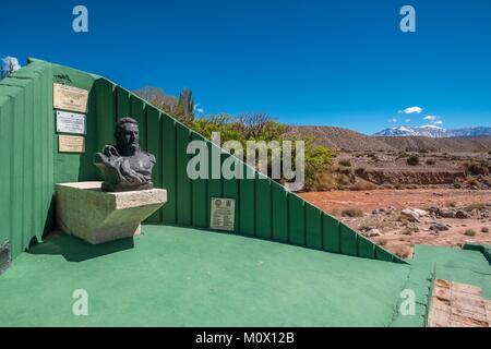 Argentinien, San Juan Provinz, Barreal, Rio de Los Patos Tal, General San Martin Statue - Stockfoto
