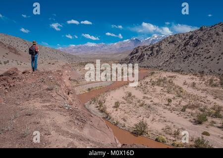 Argentinien, San Juan Provinz, Barreal, Rio de Los Patos Tal - Stockfoto