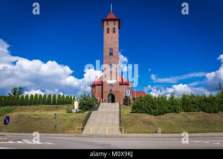 Kirche von St. Nikolaus in Mikolajki Mragowo Stadt, Grafschaft in der Woiwodschaft Ermland-Masuren in Polen - Stockfoto