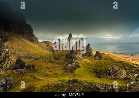 Der alte Mann von Storr, Isle of Skye - - Stockfoto