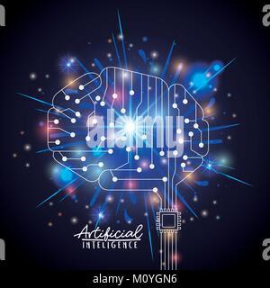 Künstliche Intelligenz poster Mit silhouette Gehirn in Transparenz über schwarzen Hintergrund mit funkelt - Stockfoto