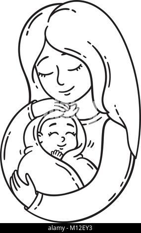 Mutter mit Baby auf Symbol Hand schwarze Farbe im Kreis runde Kontur ...