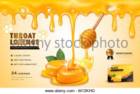 Honig Zitrone throat Lozenge, ads Vorlage und Verpackungsdesign für ...