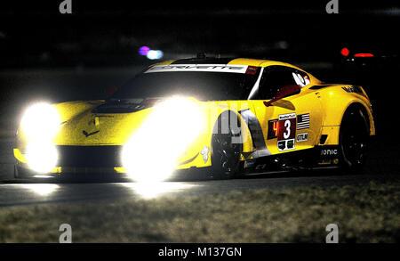 Daytona, USA. 25 Jan, 2018. Blick auf das Auto der Fahrer Antonio García, Jan Magnussen und Mike Rockenfelle der - Stockfoto