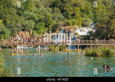 Kroatien, Zentrale Nord Dalmatien, Nationalpark Krka Krka Fälle bei Skradinski Buk - Stockfoto