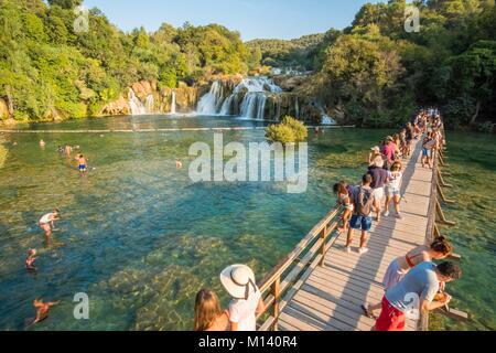 Kroatien, Nord Dalmatien, Nationalpark Krka Krka Fälle bei Skradinski Buk - Stockfoto