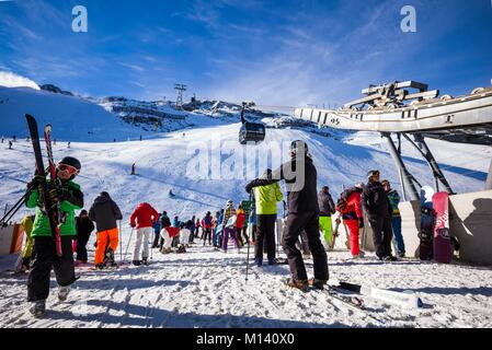 Österreich, Tirol, Sölden, Gaislachkogl Otztal Ski Mountain, Mittelstation, Höhe 2174 Meter, im Winter - Stockfoto