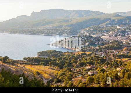 Frankreich, Bouches-du-Rhone, Nationalpark, Cassis Calanques Bay von der Spitze der Klippen von Cap Canaille - Stockfoto