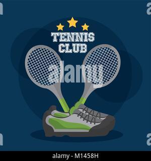 Tennis Club Racket gekreuzt und Sneakers Ausrüstung - Stockfoto