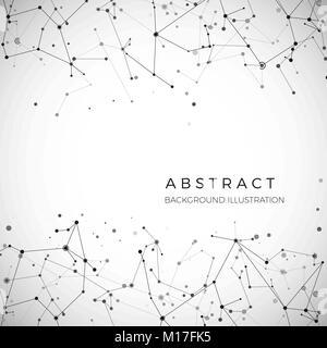 Knoten, Punkte und Linien. Abstrakte Partikel geometrische grafik hintergrund. Struktur der Atom-, Molekül- und - Stockfoto