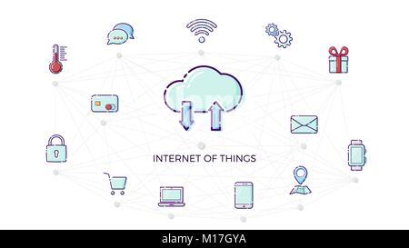 """Begriff """"Internet der Dinge""""-Symbol. Dünne Linie flache Design Element bav IOT. Smart Home Konzept. Vector Illustration auf weißem Hintergrund"""