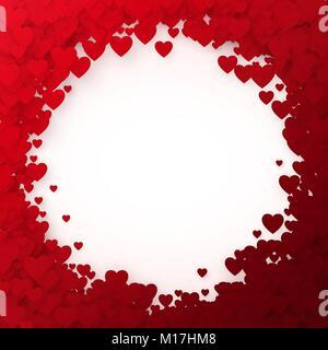 Rotes Herz Rahmen. Herz Konfetti Rahmen für Banner. Valentines Tag Hintergrund. Vector Illustration - Stockfoto