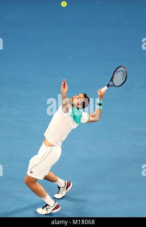 Melbourne, Australien. 28 Jan, 2018. Kroatiens Marin Cilic konkurriert bei der Men's singles Finale gegen die Schweizer - Stockfoto