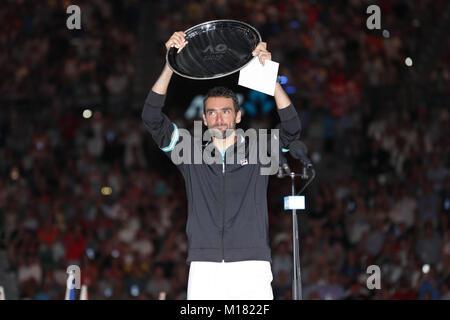 Melbourne, Australien. 28. Januar 2018. Bosniakische tennis player Marin Cilic ist in Aktion während seiner 1. Runde - Stockfoto