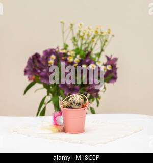 Natürliche Wachteleier in kleinen rosa Eimer, bunten Federn vor Violett Blumen, leicht rustikal Serviette auf dem - Stockfoto