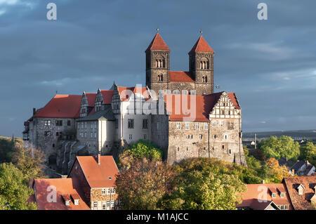 Das Schloss Quedlinburg in Quedlinburg, Saxen Anhalt, Deutschland - Stockfoto