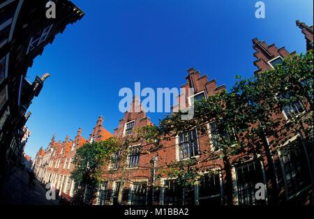 Die Niederlande. Haarlem. Gasthuishuisjes, eine Reihe von Häusern mit identischen Schritt Giebeln, um 1610 erbaut. - Stockfoto