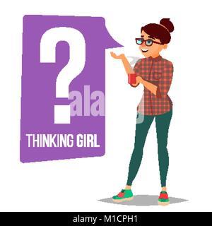 Woman Vektor. Frage Anmelden denke, Blase. Weibliche Denken und finden Sie Antworten. Isolierte flache Zeichentrickfigur - Stockfoto
