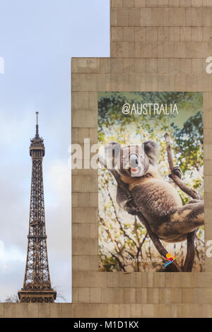 Der Tourismus Australien Agentur in Paris wirbt für ihr Land mit ein Bild von einem koalabär, mit dem Eiffelturm - Stockfoto