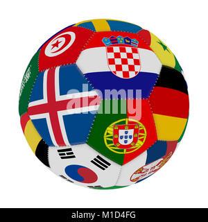 Fußball mit der Farbe der Flaggen der Länder der Welt die Teilnahme auf Fußball, in der Mitte Island, Kroatien und - Stockfoto