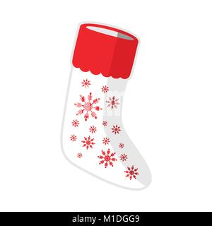 Weihnachten weiße Socken Schneeflocken Vector Graphic Illustration Symbol Design - Stockfoto