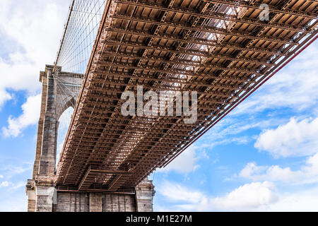 Closeup isolierte Sicht auf unter der Brooklyn Bridge Außenfassade im Freien in NYC New York City, blauer Himmel - Stockfoto