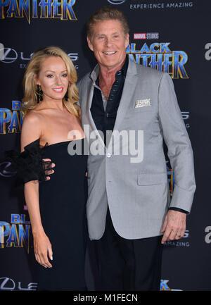 Los Angeles, USA. 29 Jan, 2018. David Hasselhoff + Hayley Roberts 066 besucht die Premiere von Disney und Marvel - Stockfoto