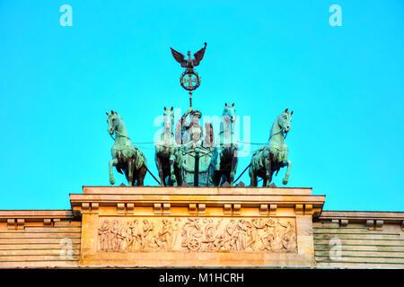 Quadriga auf dem Brandenburger Tor in Berlin, Deutschland - Stockfoto
