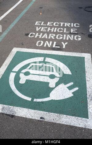 Fahrzeug Parkplatz mit Grün und weiße Markierungen, die darauf hinweist, dass der Raum ist für Elektrofahrzeug nur - Stockfoto