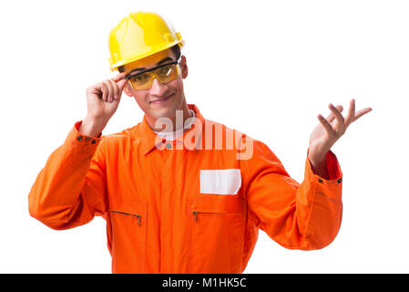 Bauarbeiter tragen Schutzhelm isoliert auf weißem - Stockfoto