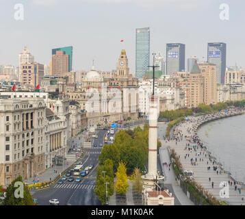 Blick auf den Bund in Shanghai am Morgen - Stockfoto