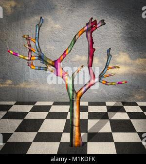 Surreale Bild, das eine bunt gestreiften Baum in einer Landschaft mit karierten Fußböden in Schwarz und Weiß und - Stockfoto