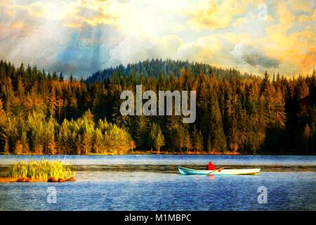Bildliche herbst Szene mit alten Boot-artwork in moderne Öl malerei Stil - Stockfoto