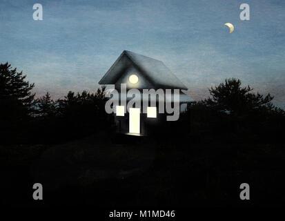 Schönes Bild, ein isoliertes Haus in einem Wald im ersten Licht des Tages - Stockfoto