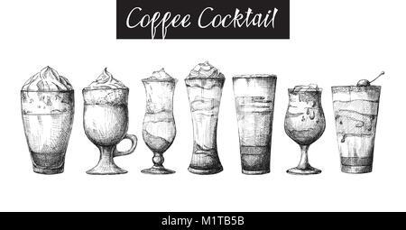 Einstellen der verschiedenen Gläser, verschiedene Kaffee Cocktails. Vector Illustration einer Skizze Stil - Stockfoto