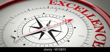 Excellence Konzept. Kompass roter Pfeil in roten Buchstaben Wort Exzellenz zeigt. 3D-Darstellung - Stockfoto