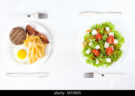 Kontrastierende gesund versus Junk Food - Stockfoto
