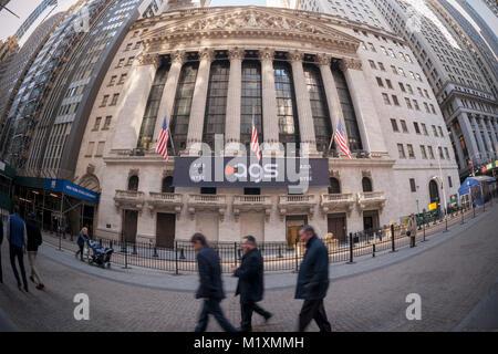 Der New York Stock Exchange ist für den ersten Tag des Handels der Börsengang für PlayAGS am Freitag, 26. Januar - Stockfoto