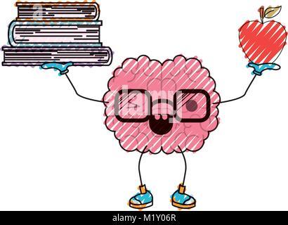 Gehirn cartoon mit Brille und lernen Bücher in bunten Silhouette mit ...