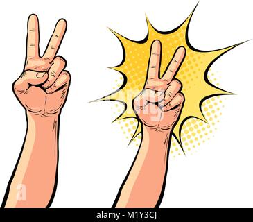 Hand Geste der Sieg oder Frieden, zwei Finger nach oben. Vector Illustration in der Pop Art retro Comic Stil - Stockfoto