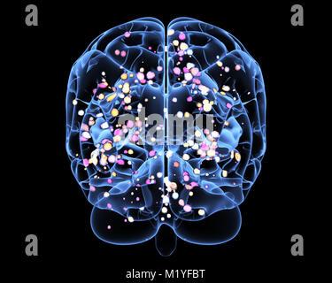 Aktivität des Gehirns während denken. 3D illustration - Stockfoto