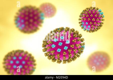 Grippeviren, Michigan Sorte, computer Abbildung. Jedes Virus besteht aus einem Kern von RNA (Ribonukleinsäure) genetischen - Stockfoto