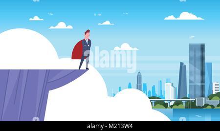Business Mann mit rotem Umhang auf Berg Flanke an moderne Stadt Geschäftsmann Hero suchen - Stockfoto