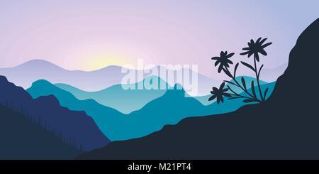 Berge, edelweiss und Wald bei Sonnenaufgang. Landschaft mit Silhouetten. Vector Illustration - Stockfoto
