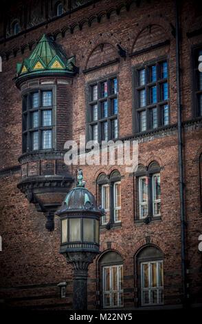 Kopenhagen, Dänemark - 26. September 2014: Kopenhagener Rathaus, ein Detail der Wand - Stockfoto