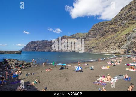 Playa de Los Guios Strand, Los Gigantes, Teneriffa, Kanarische Inseln 2016 - Stockfoto