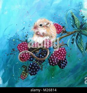Bild von einer Maus sitzt auf einem Blackberry Zweig - Stockfoto