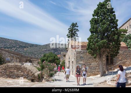 Ehemalige Kolonie für Leprakranke Gebäude auf Spinalonga (kalydon) Insel, Elounda, Lasithi, Kreta (Kriti), Griechenland - Stockfoto
