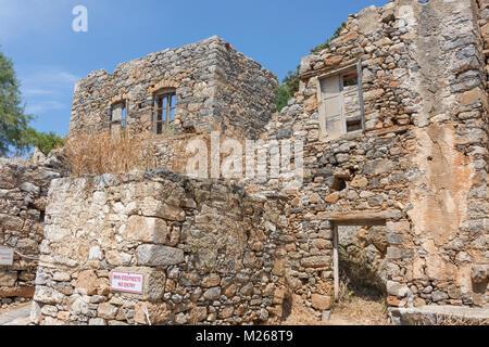 Osmanischen Gebäuden (18. Jahrhundert) auf Spinalonga (kalydon) Insel, Elounda, Lasithi, Kreta (Kriti), Griechenland - Stockfoto