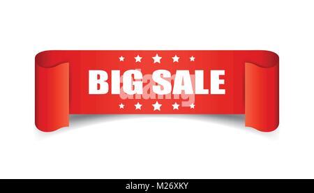 Big Verkauf ribbon Vektor icon. Discount sticker Label auf weißem Hintergrund. - Stockfoto